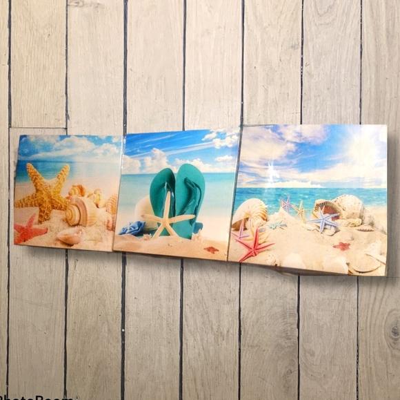 Set of 3 Canvas Beach Scene Wall Art New in Box